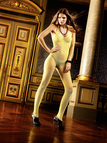 Baci Neon Yellow fishnet bodystocking