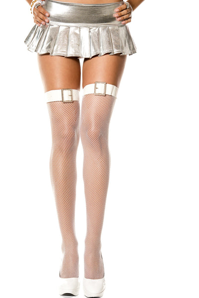 Belt & Faux Rhinestone Buckle Fishnet Thigh High