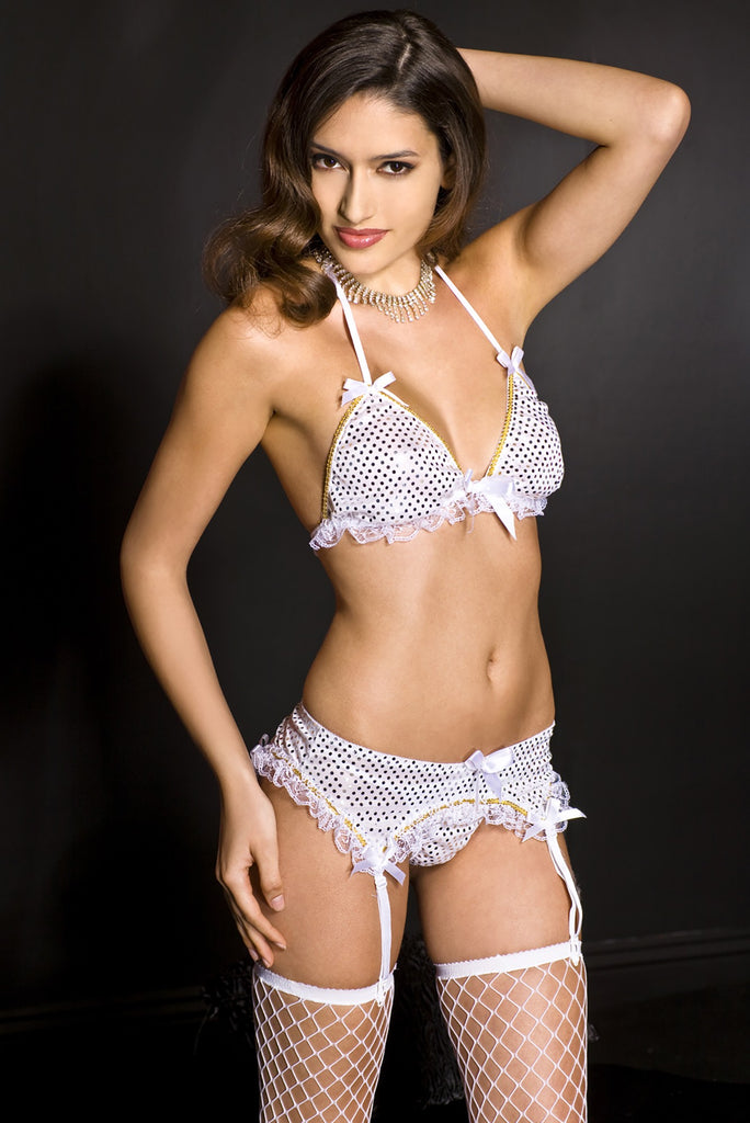 Ruffle Lace Trim Sequined Halter Bra with Matching Garter Skirt