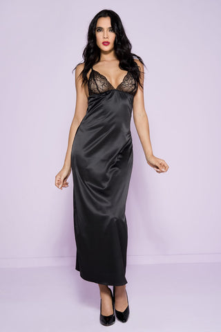Long Satin Gown with Lace Cups
