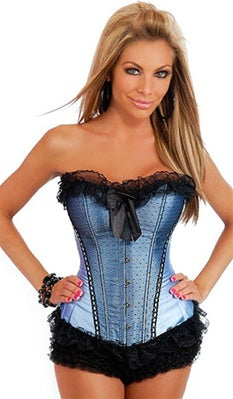 Baby blue and black strapless Daisy corset