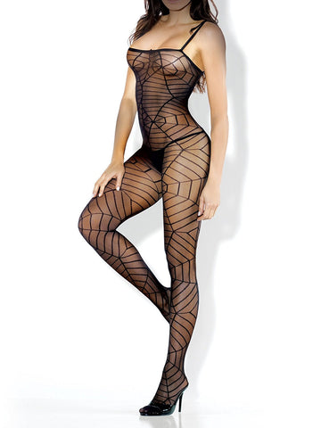 Spiderweb Spaghetti Strap Bodystocking