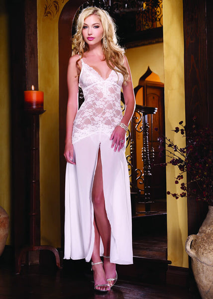Stretch Lace & Chiffon Gown & Thong
