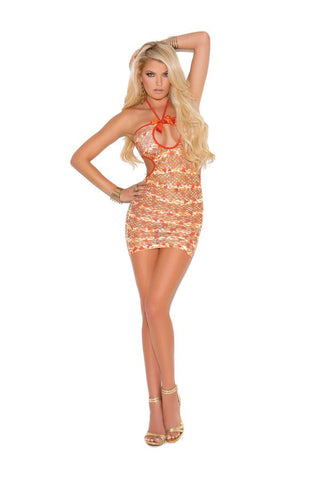 Confetti Halter Mini Dress with Front Keyhole