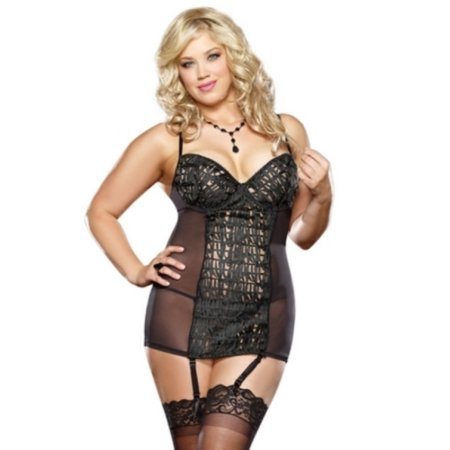 Plus Size Sheer Seduction Garter Chemise And Thong