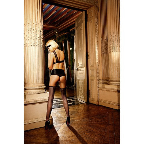 Black Mesh Thigh High Stockings with BackSeam