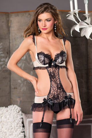 Lace & Mesh Chemise with Cutout Sides