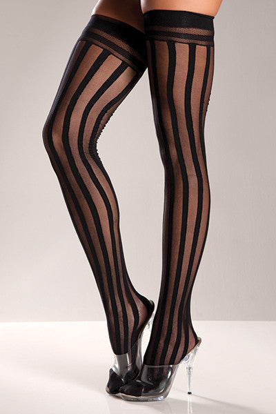 Black Striped Thigh High