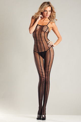 Sheer Black Crochet Spaghetti Strap Bodystocking