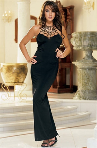 Full Length Knit Front Design Gown & Thong