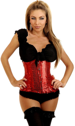 Sequin Underbust Corset with Lace Up Back