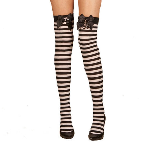 Striped Thigh High with Handcuff Detail