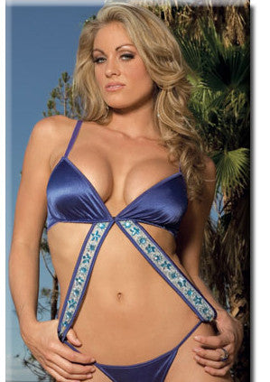 Stretch Satin Teddy With Sequin Band