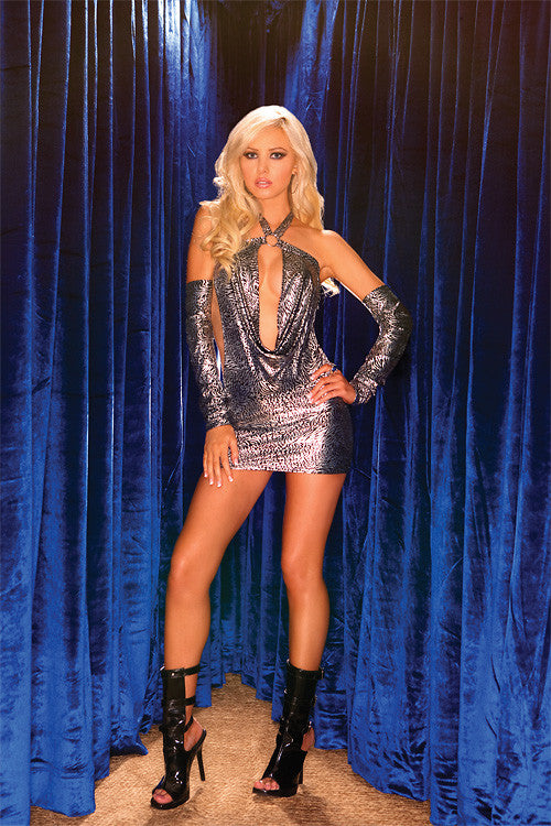 Halter Metallic Draping Mini Dress with Gloves