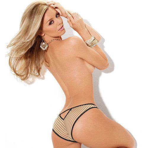 Nude & Black Corset Top & Matching V Back Panty