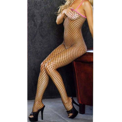 Fishnet Bodystocking with Color Contrast Spaghetti Straps