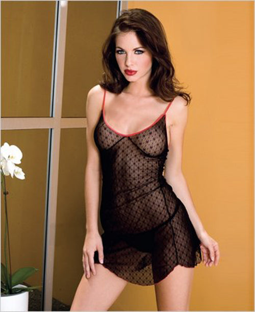Daisy Lace Chemise with Contrast Color Trim