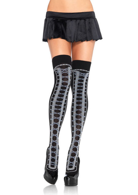 Acrylic Faux Lace up Thigh Highs