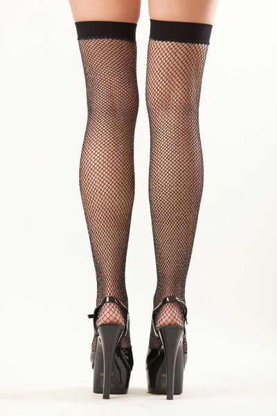 Glitter Fishnet Thigh High Stockings