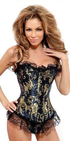 Black and Gold Ruffle Strapless Brocade Corset