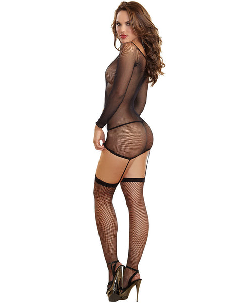 "Long Sleeved Fishnet Garter Dress w Opaque ""X"" Detail, Attached Garters, Thigh High Stockings"