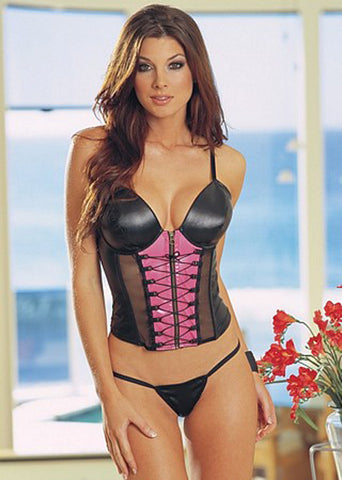 Faux Leather Bustier Set