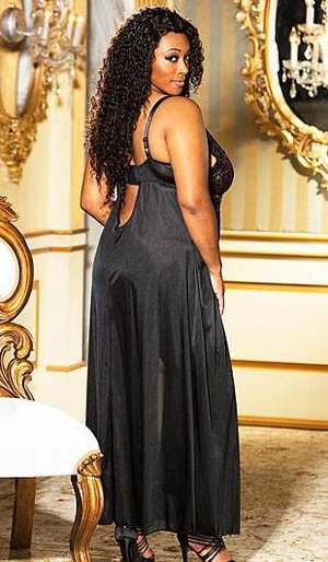 Plus Size Two Tone Long Lace & Satin Gown