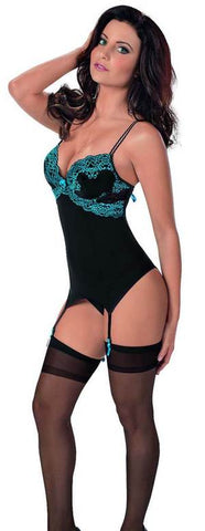 Midnight Pleasure Bustier Set with Thigh Highs