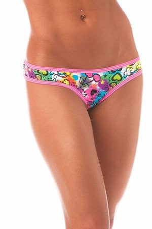 """Peace N' Love"" Graffiti Scrunch Hip Half Back Panty"