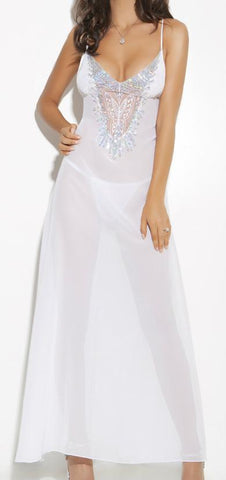 Chiffon Gown with Sequin Detail