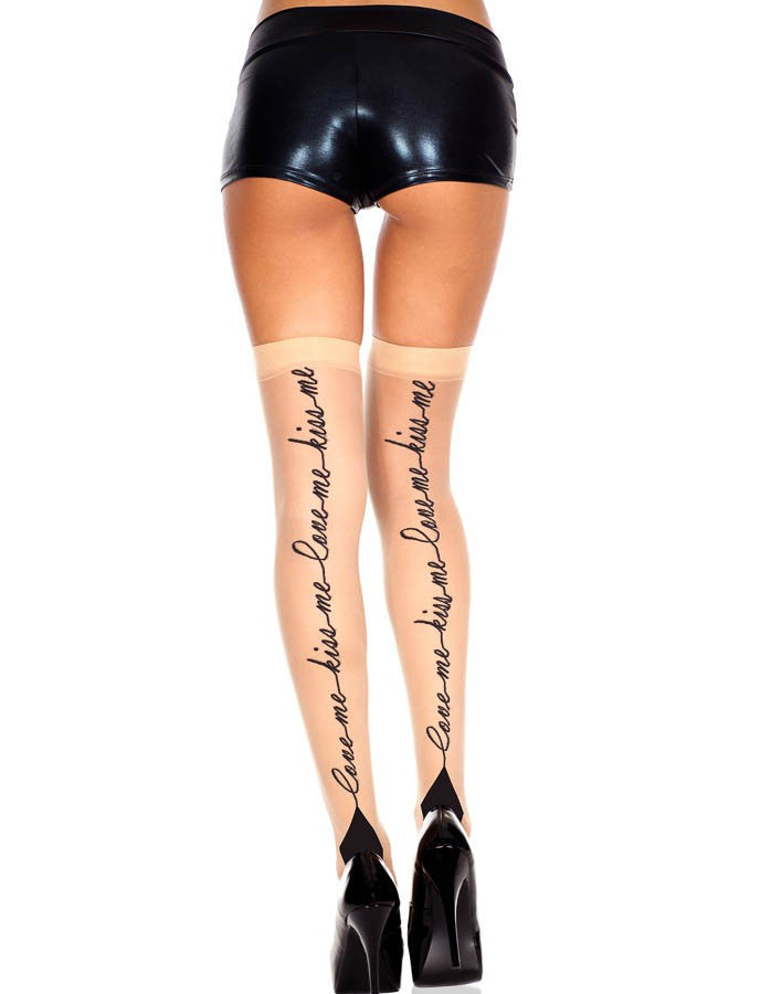 Love Me, Kiss Me Print Cuban Heel Thigh High