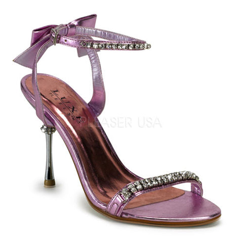 "4"" Ankle Wrap Sandal with Rhinestones & Back Bow"