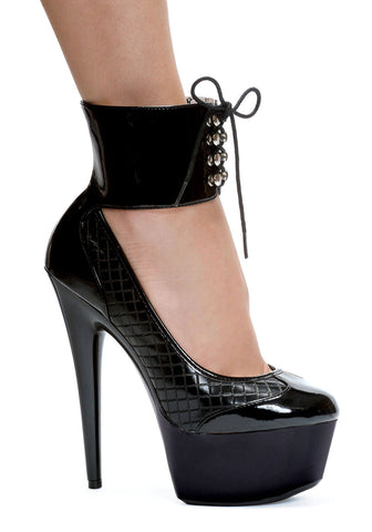 6 Inch Stiletto Heel Lace Up Ankle Cuff Platform Pump
