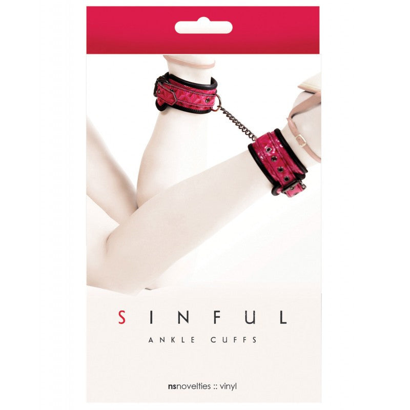 Pink Vinyl Sinful Ankle Cuffs