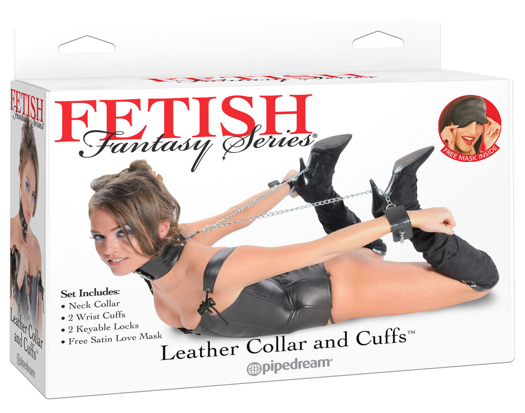 Fetish Fantasy Series Leather Collar and Cuffs