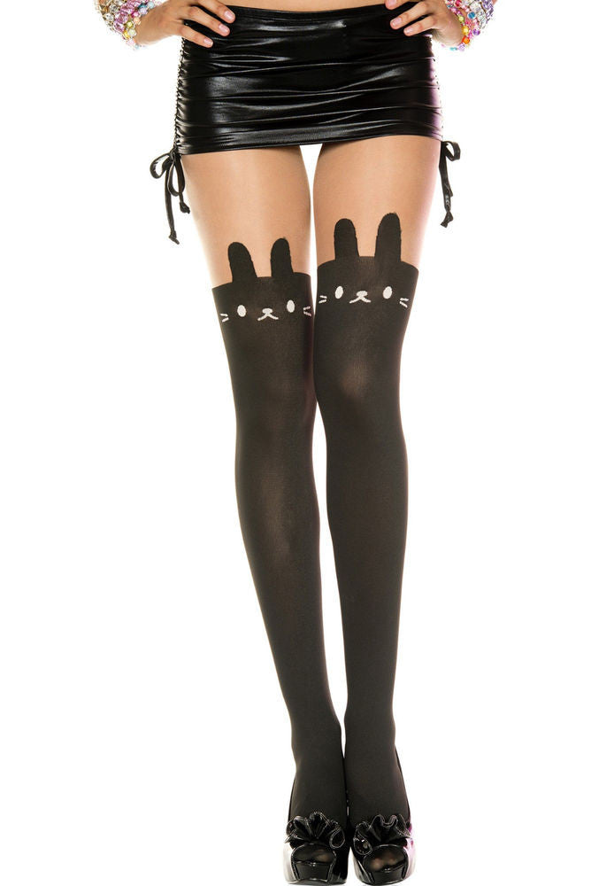 Bunny Print Sheer and Opaque Pantyhose
