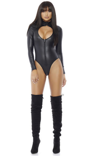 Impure Zip Front Black Bodysuit