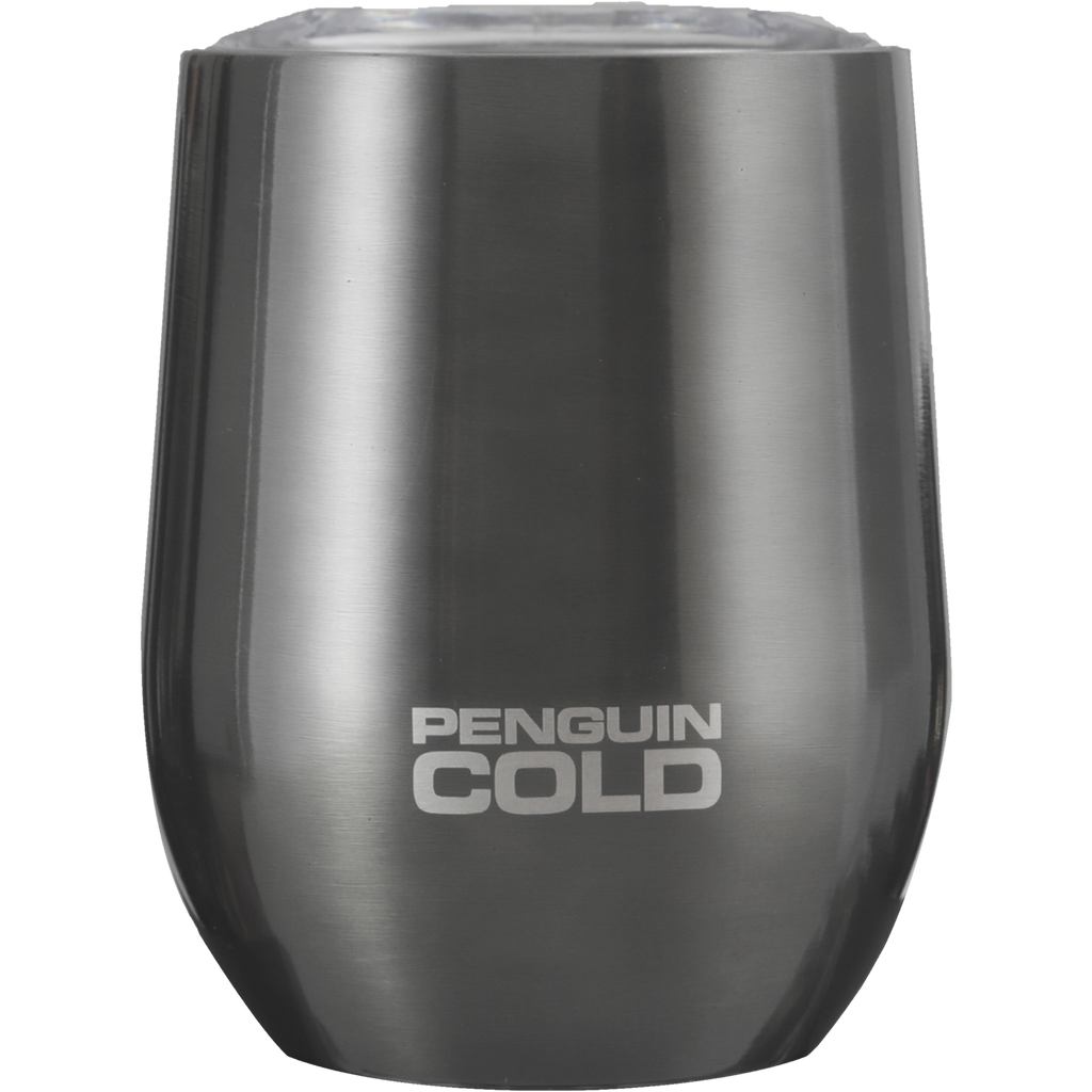 Gunmetal 12oz Penguin cold insulated stainless steel tumblers, holds extreme hot and cold temperatures, spill proof tritan lid, double wall vacuum insulated, BPA free, no sweat condensation bottle, triple insulation with copper coating, 18/8 stainless steel 304 grade, wine, coffee, cocktails, drinks