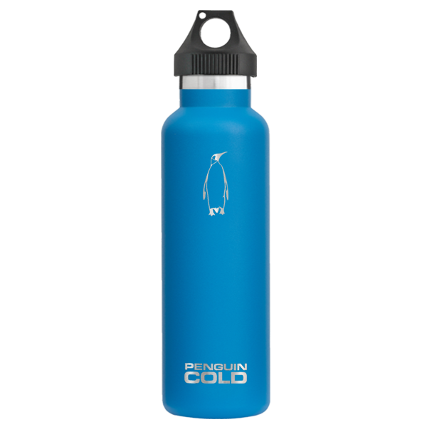 21oz Blue Penguin cold insulated stainless steel bottles / flasks, holds extreme hot and cold temperatures, leak proof twist loop Klean Kanteen hydro flask lid, Blue double wall vacuum insulated, BPA free, no sweat condensation bottle, triple insulation with copper coating, 18/8 stainless steel 304 grade