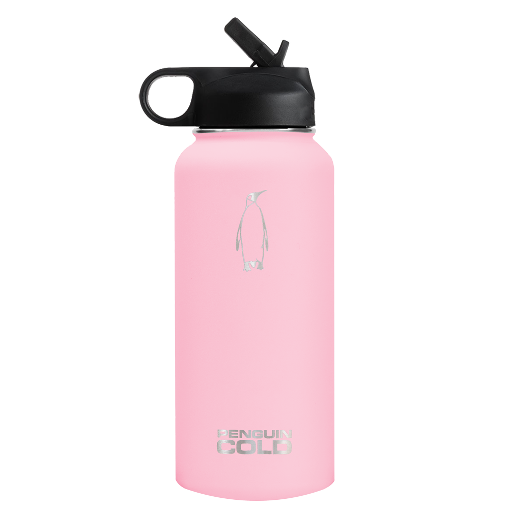 32oz Straw Lid King Penguin Cold | Vacuum Insulated Stainless Steel Water Bottle