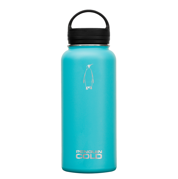 32oz Teal Penguin cold insulated stainless steel bottles / flasks, holds extreme hot and cold temperatures, leak proof twist hydro flask insulated lid, double wall vacuum insulated, BPA free, no sweat condensation bottle, triple insulation with copper coating, 18/8 stainless steel 304 grade