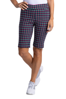 Slimsation Golf Print Short - Black Plaid