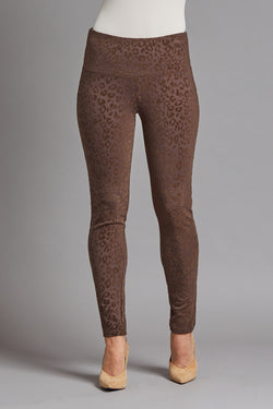 Flocked Print Ponte Ankle Leggings - Chocolate