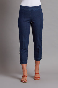 SKINNY SOLID CROP W/ LADDER STRAPS - DENIM