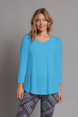 V-Neck Solid Knit Top - Turquoise