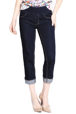 BOYFRIEND CROP JEANS - DARKEST INDIGO