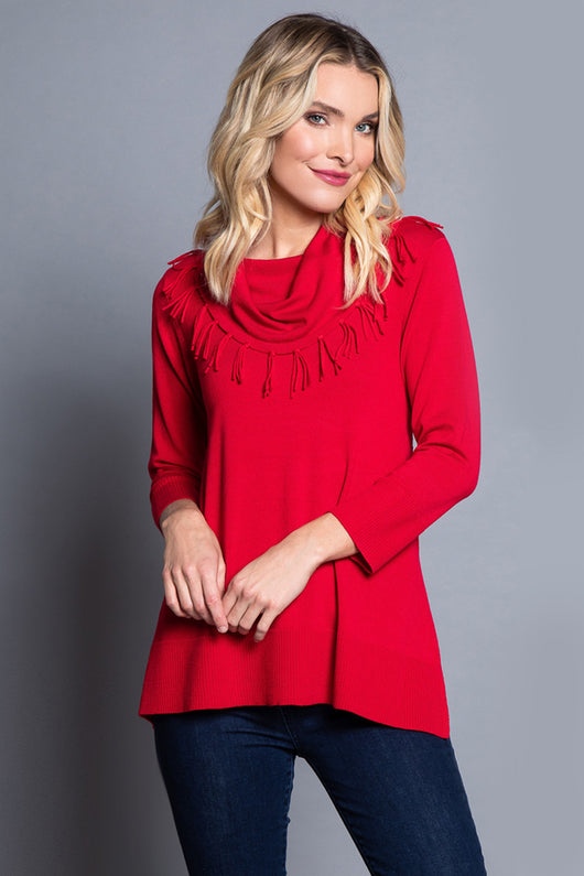 Petite Fringed Cowl Neck Sweater - Cherry