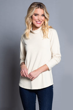 Shaped Hem Solid French Terry Top - Custard