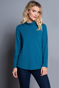 Shaped Hem Solid French Terry Top - Dark Teal