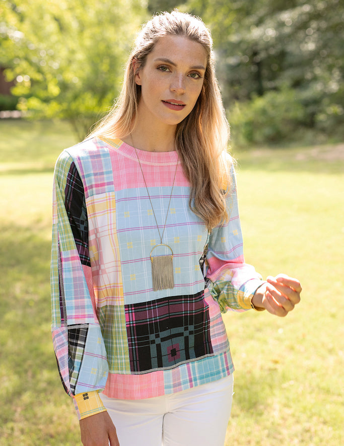 Sharon Young - Mixed Plaid Pullover Top